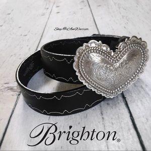 Brighton black leather belt w/ silver heart buckle